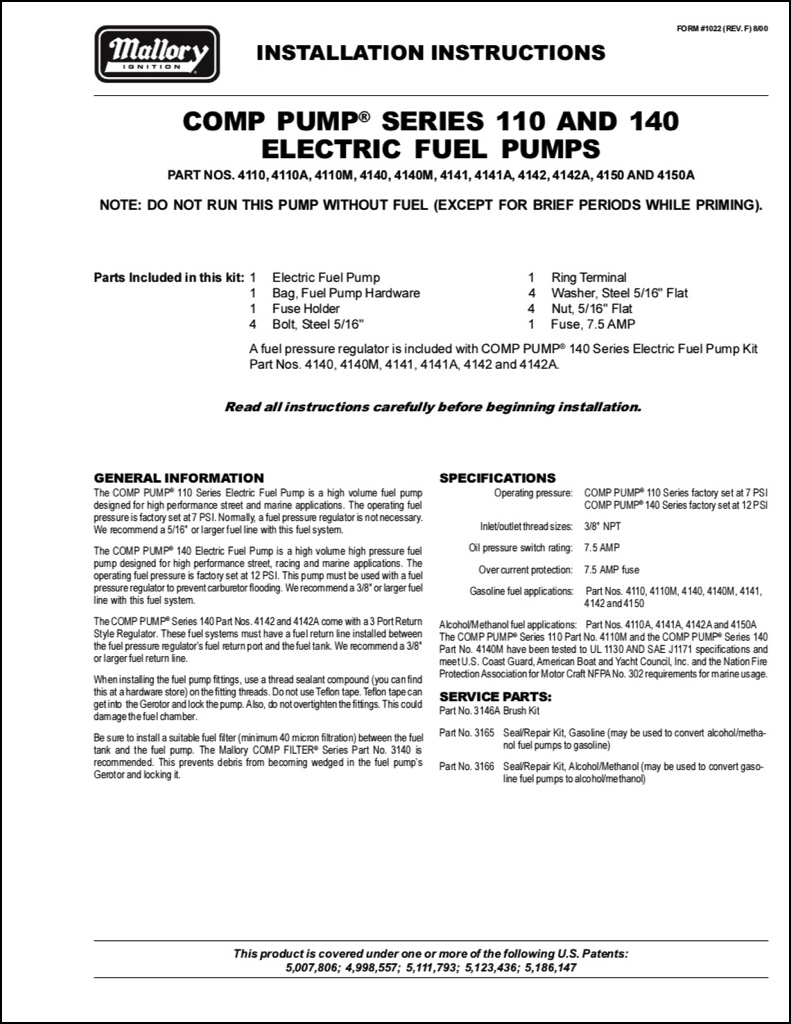 I-Mallory Electric Series 110 Electric Fuel Pump Instruction