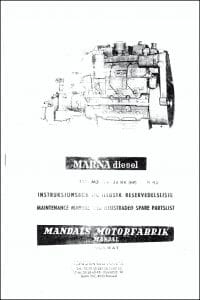 Marna M3 diesel engine Maintenance Manual and Illustrated Spare Parts List