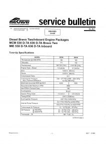 Mercruiser Bulletin 88-7 Tune-Up Specifications