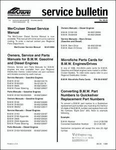 Mercruiser Bulletin 89-25 Service Manual Info