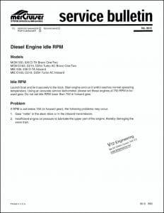 Mercruiser Bulletin 90-9 diesel engine idle rpm