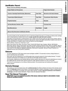 Mercury 2.0L Inboard Diesel Engine Models Owners Manual