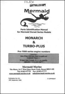 Mermaid Mermaid Monarch diesel engine Serial numbers before 7000 Parts Identification Manual