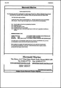 Mermaid Marine Turbo 4 diesel engine Serial numbers before 7000 Parts Identification Manual