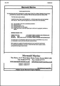 Mermaid Marine Turbo 4 diesel engine Serial numbers before 7000 Parts Identification Manual