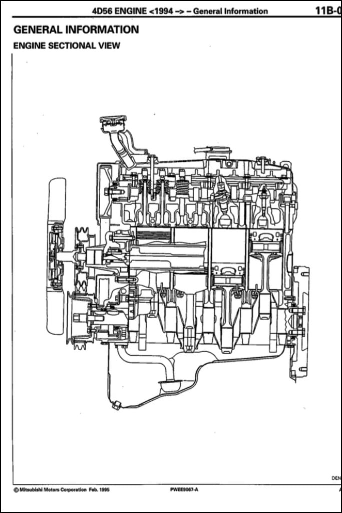 mitsubishi diesel engine diagram