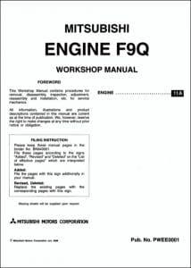 Mitsubishi F9Q Series diesel engines Workshop Manual