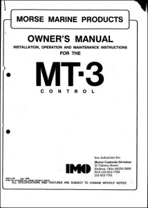 Morse MT-3 Owners Manual