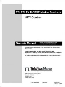 Teleflex Morse MY Control Owners Instructions