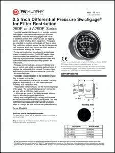 Murphy engine 25DP pressure gauge brochure