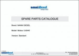 Nanni 2.60HE marine diesel engine Parts Catalog