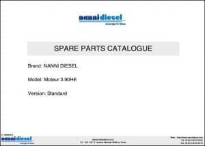 Nanni 3.90HE marine diesel engine Spare Parts Catalogue