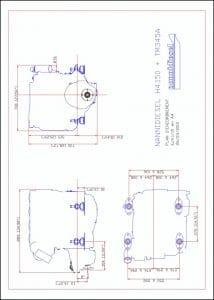 Nanni H4.50 marine diesel engine & TM345A transmission installation Drawing