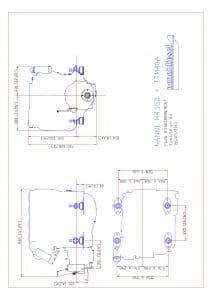 Nanni H4.150 marine diesel engine and TTM40A transmission installation Drawing