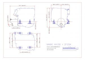 Nanni H4.150 marine diesel engine with ZF25A transmission Drawing