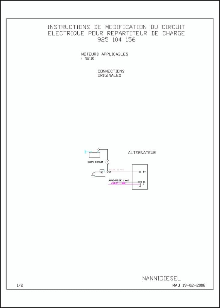 Nanni N2.10 marine diesel engine Charging Circuit Change Diagrams
