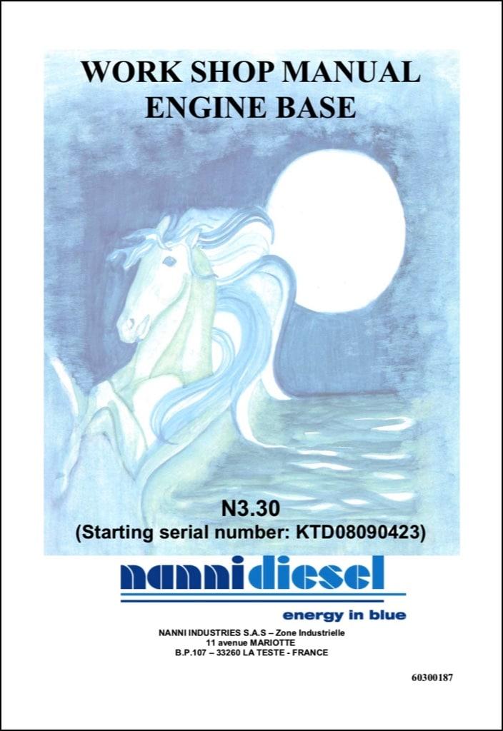Nanni N3.30 Marine Diesel Engine starting from KTD08090423 Workshop Manual