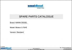 Nanni N3.75HE Marine Diesel Engine Parts Catalogue
