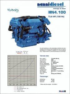 Nanni N4.100 specifikationer for dieselmotor til skibe på dansk