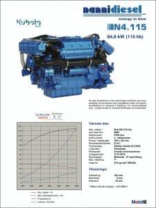 Nanni N4.115 specifikationer for dieselmotor til skibe på dansk