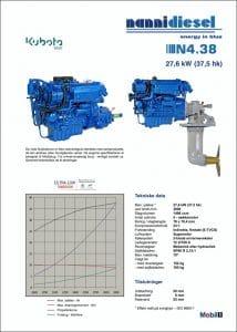 Nanni N3.30 specifikationer for dieselmotor til skibe på dansk