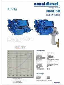 Nanni N4.50 specifikationer for dieselmotor til skibe på dansk