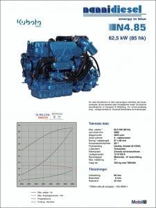 Nanni N4.85 specifikationer for dieselmotor til skibe på dansk