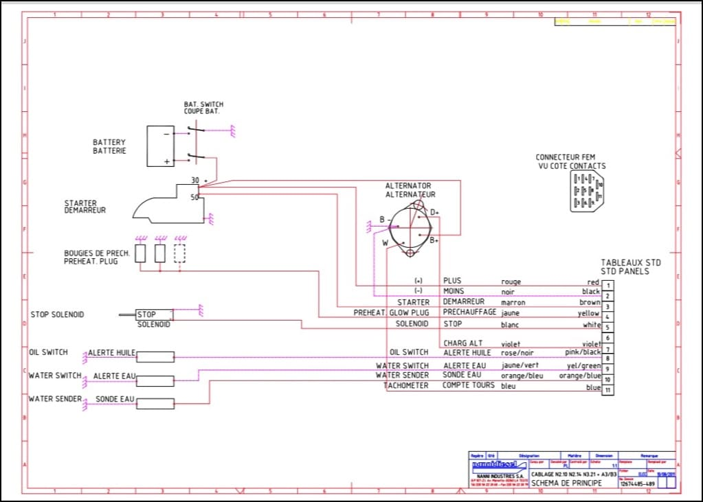 Diagram of Nanni Standard Wiring for Kubota diesel engine base