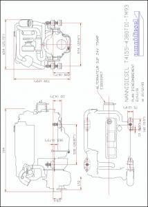 Nanni T4.155 diesel engine & TM93 Drawing
