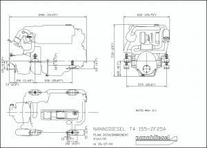 Nanni T4.155 diesel engine & ZF25A transmission Drawing