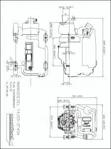 Nanni T4.155 marine diesel engine & ZF45A transmission Drawing
