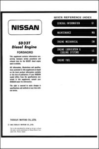 Nissan SD33T diesel engine Service Supplement