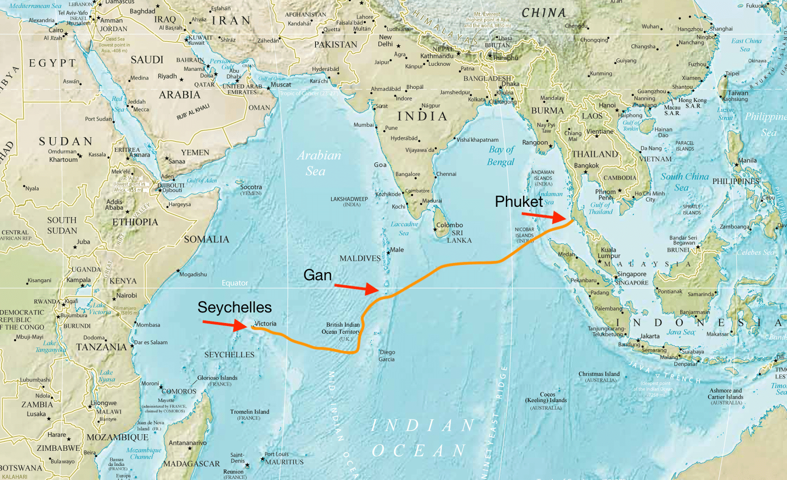 Passge of SV Oceans Five across the Indian Ocean