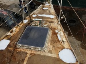 Foredeck after welding and before fairing and painting