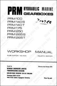 PRM 100 etc marine transmission gearbox Workshop Manual and Parts List