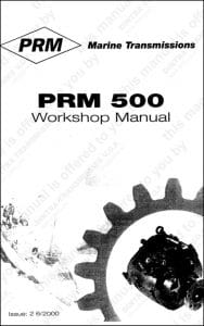PRM marine transmission 500 Workshop manual