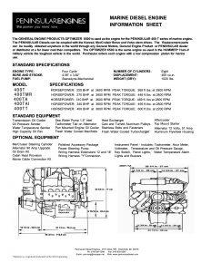 Peninsular marine diesel engine Infosheet