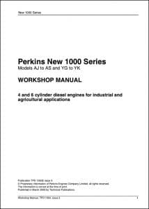 Perkins 1000 Series diesel engine Workshop manual