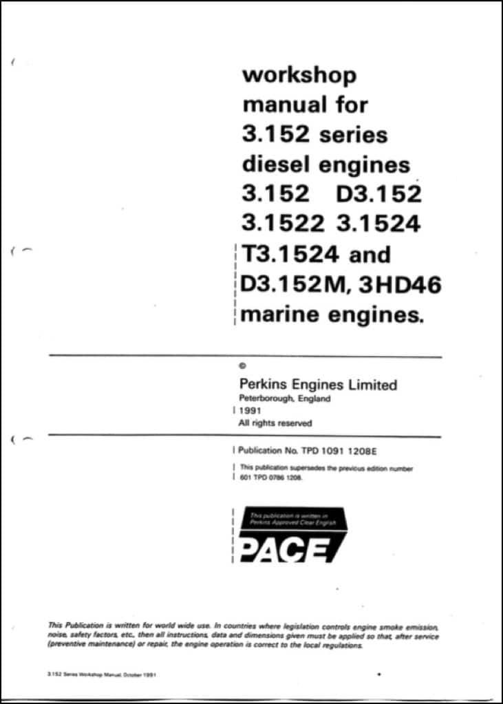 Perkins 3 152 diesel engine Workshop Manual - MARINE DIESEL