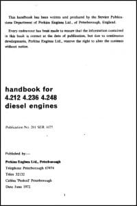 Perkins diesel engine 4.212 Handbook & Spare Parts