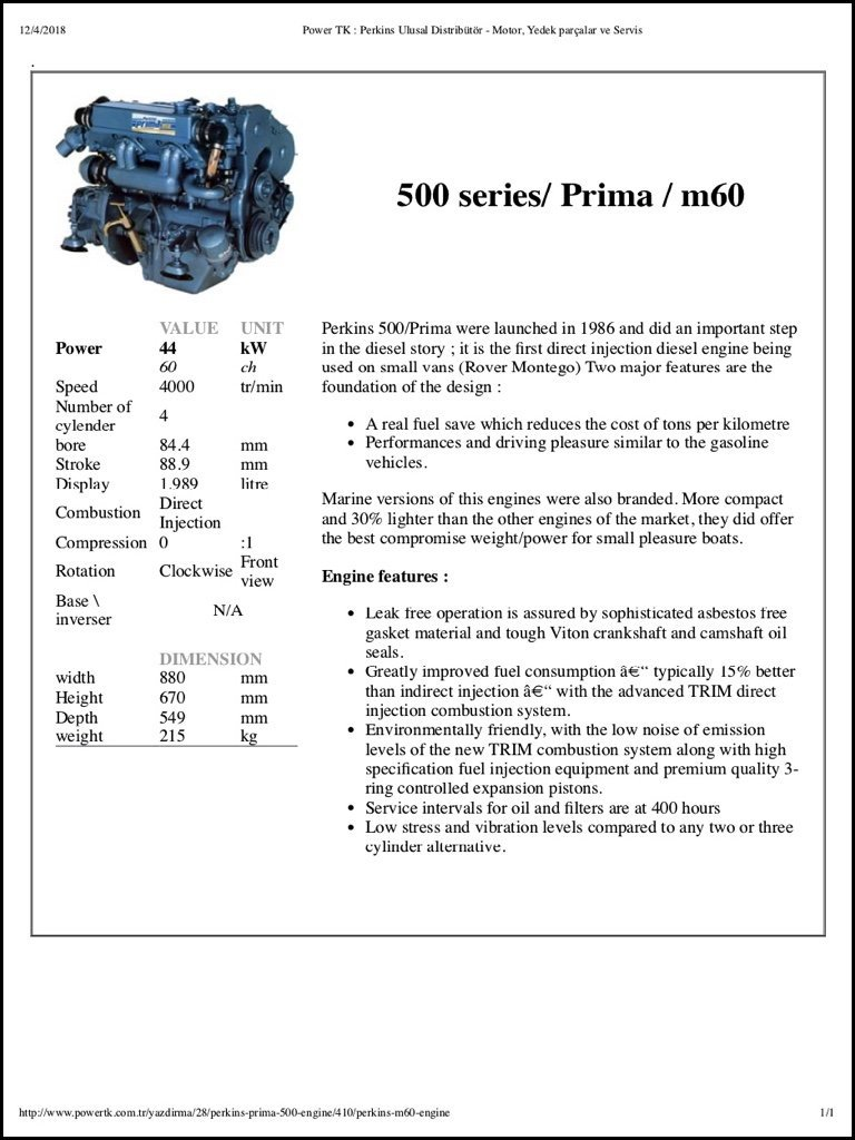 Perkins 500 Series diesel engine Brochure