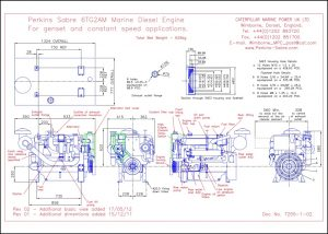 Perkins 6TG2AM diesel genset engine Drawing