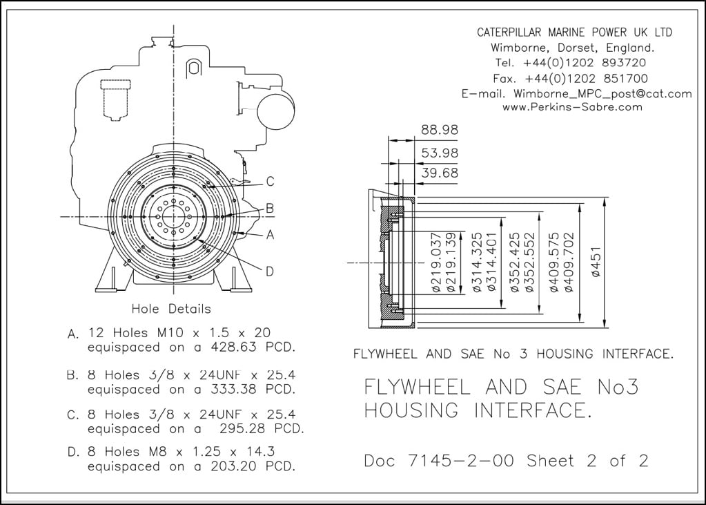 Perkins 6TWGM Flywheel SAE3 Drawing p2of2