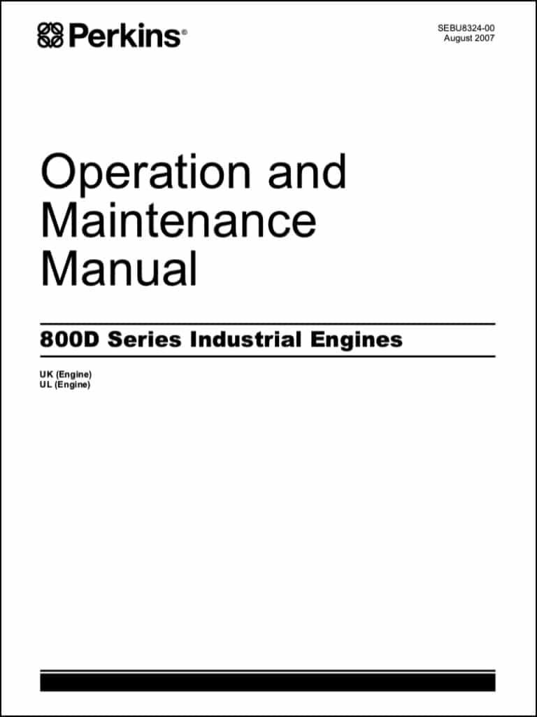 Perkins 800D indsutrial diesel engine Operation & Maintenance Manual