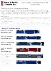 Perkins marine diesel engine Exhaust Elbows Catalog