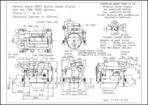 Perkins M85T diesel engine with PRM 260 transmission Drawing