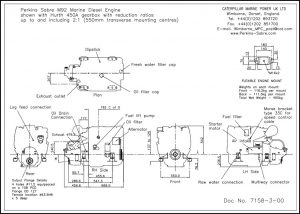 Perkins M92 diesel engine with Hurth 450A transmission Drawing