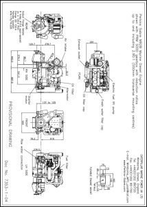 Perkins M92B marine diesel engine with PRM 500D Transmission Drawing
