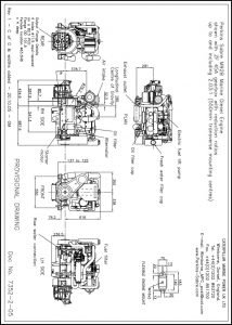 Perkins M92B marine diesel engine with ZF 45A Transmission Drawing