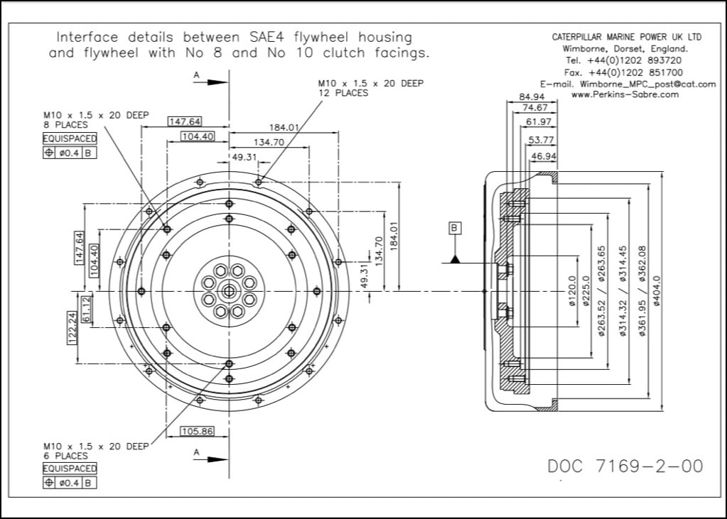 Perkins SAE4 Flywheel Interface No8 Clutch Drawing